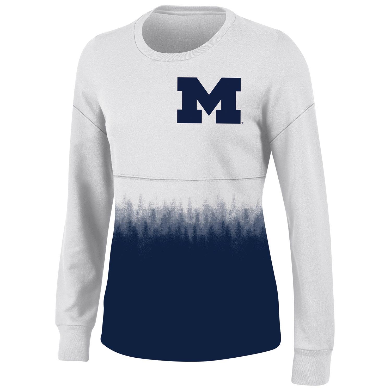 Women's White Michigan Wolverines Oversized Fan Long Sleeve T-Shirt