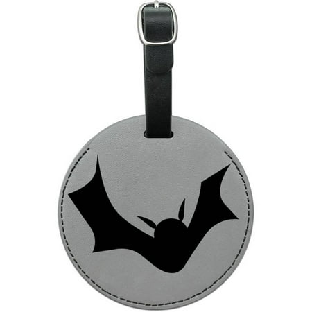 Bat Halloween Round Leather Luggage ID Tag Suitcase Carry-On](Tags For Halloween)