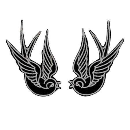 Set of 2 Black Swallow Patch Bird Tattoo Sparrow Embroidered Iron On - Tattoos Of Birds