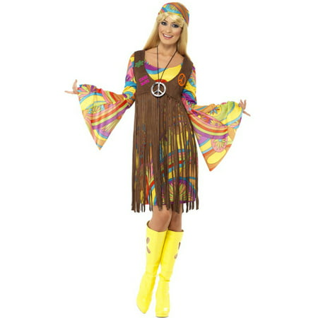 Womens 60s 70s Hippie Girl Peace Dress And Waistcoat - 60s Hippie Girl
