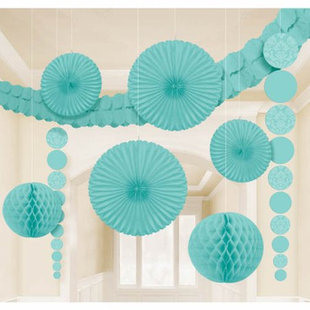 Robin's Egg Blue Damask Room Decorating Kit (9pc)
