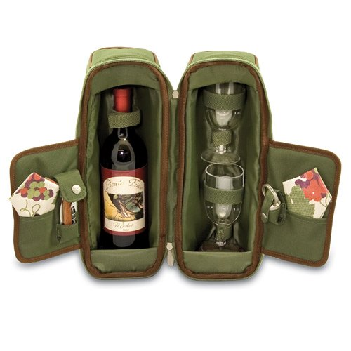 Estate-pine Green with Nouveau Grapes Wine Tote with Two Wine Glass, Corkscrew, Bottle Stopper, and Two Napkins