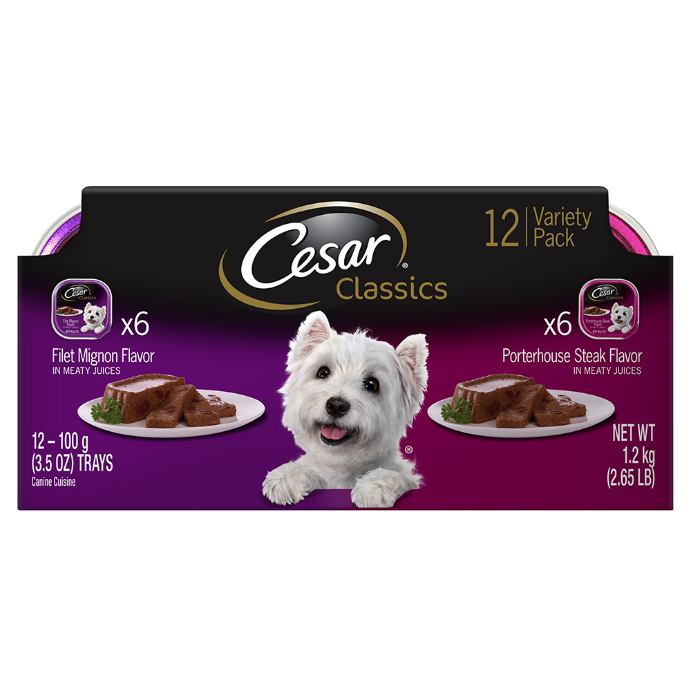 Cesar Canine Cuisine Variety Pack Filet Mignon And Porterhouse Steak Dog Food, (12 Count)