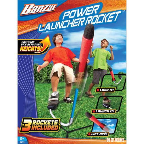 Banzai Power Launcher Rocket (Backyard Fun Stomp Launch Shuttle 20 Feet Includes 3... by Banzai