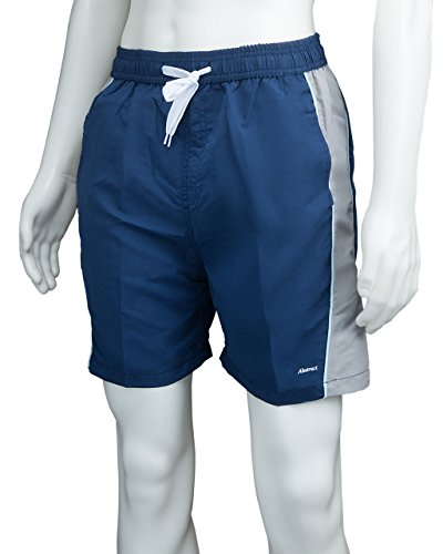 Athletic Shorts Polyester Swim Trunks for Men / Boys by Abstract (14/16, Navy / Gray)