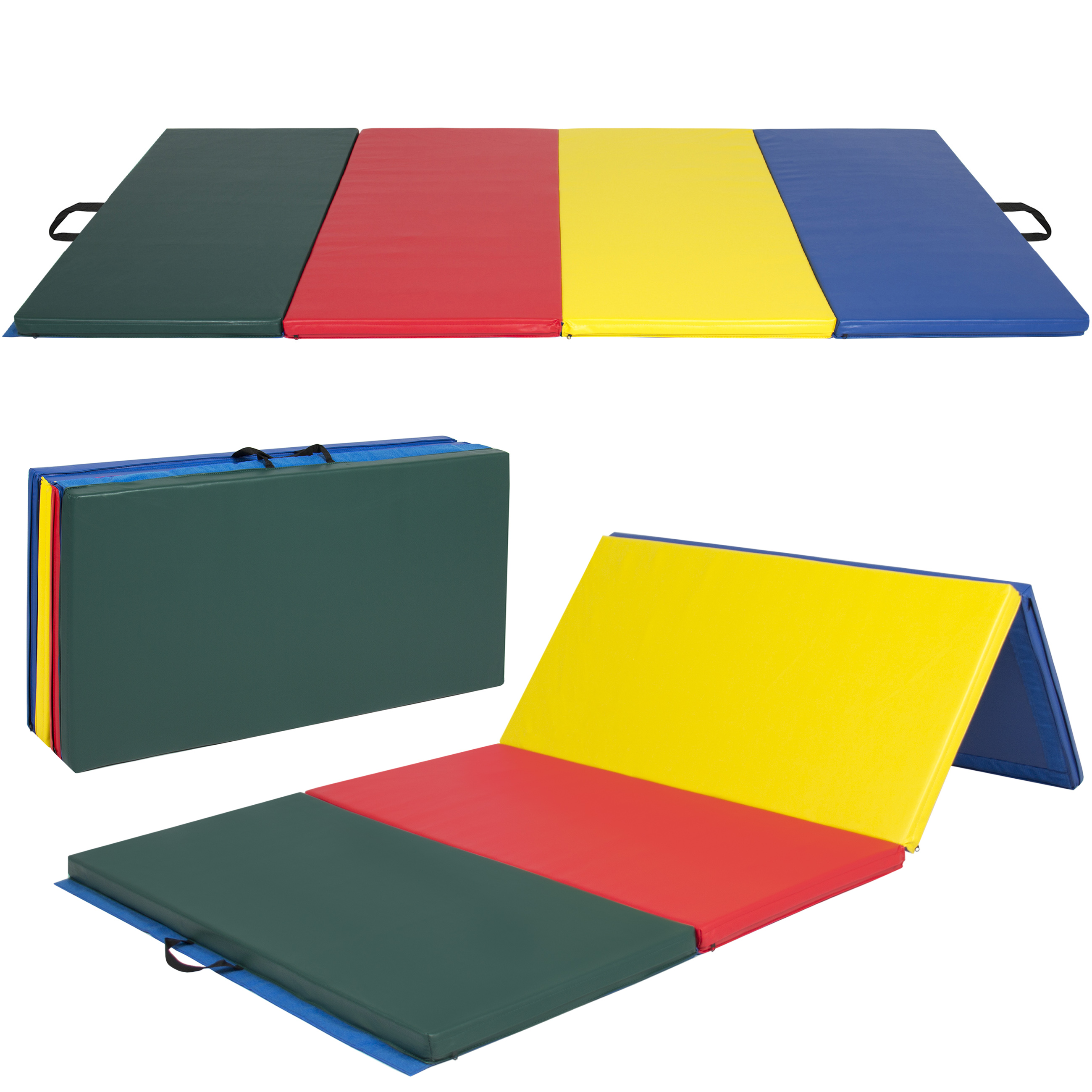 Best Choice Products 8ft Folding Exercise Gym Mat for Gymnastics, Aerobics, Yoga, Martial Arts - Multicolor