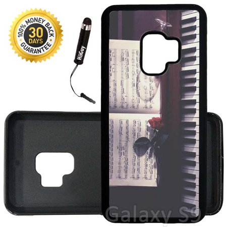 Custom Galaxy S9 Case (Sheet Music Roses Wine and Piano) Edge-to-Edge Rubber Black Cover Ultra Slim | Lightweight | Includes Stylus Pen by Innosub ()