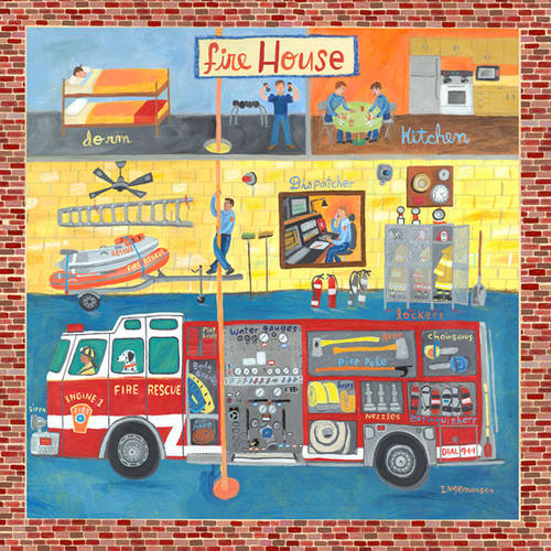 Oopsy Daisy's Firehouse Canvas Wall Art, 24x24