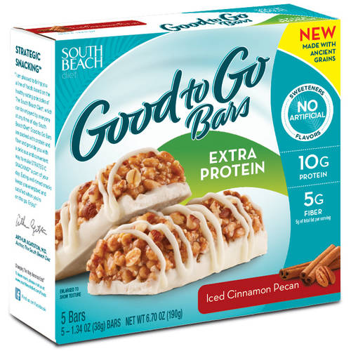 South Beach Diet Good to Go Iced Cinnamon Pecan Extra Protein Bars, 5ct