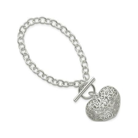 Sterling Toggle Bracelet (925 Sterling Silver Puffed Heart Toggle Bracelet )