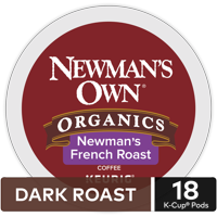 Newman's Own Organics Dark French Roast K-Cup Coffee Pods, 18 Count for Keurig Brewers