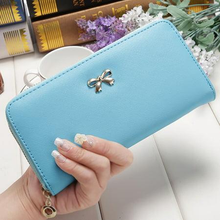 645fb28a8fe8 Dosmart - Women Bowknot Wallet Long Purse Phone Card Holder Clutch ...