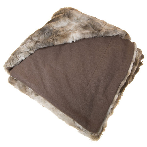 Natico Coyote Faux Fur Throw Blanket