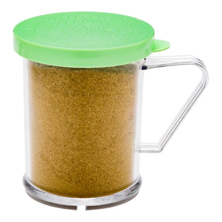 RW Base 10 oz Clear Polycarbonate Dredge Spice Shaker - with Green Extra Fine Lid - 4 3/4