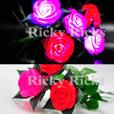 (12 Pack) Light Up Roses Valentines Day Romantic Wedding Pink Red Flashing LED Gift Rosas ()