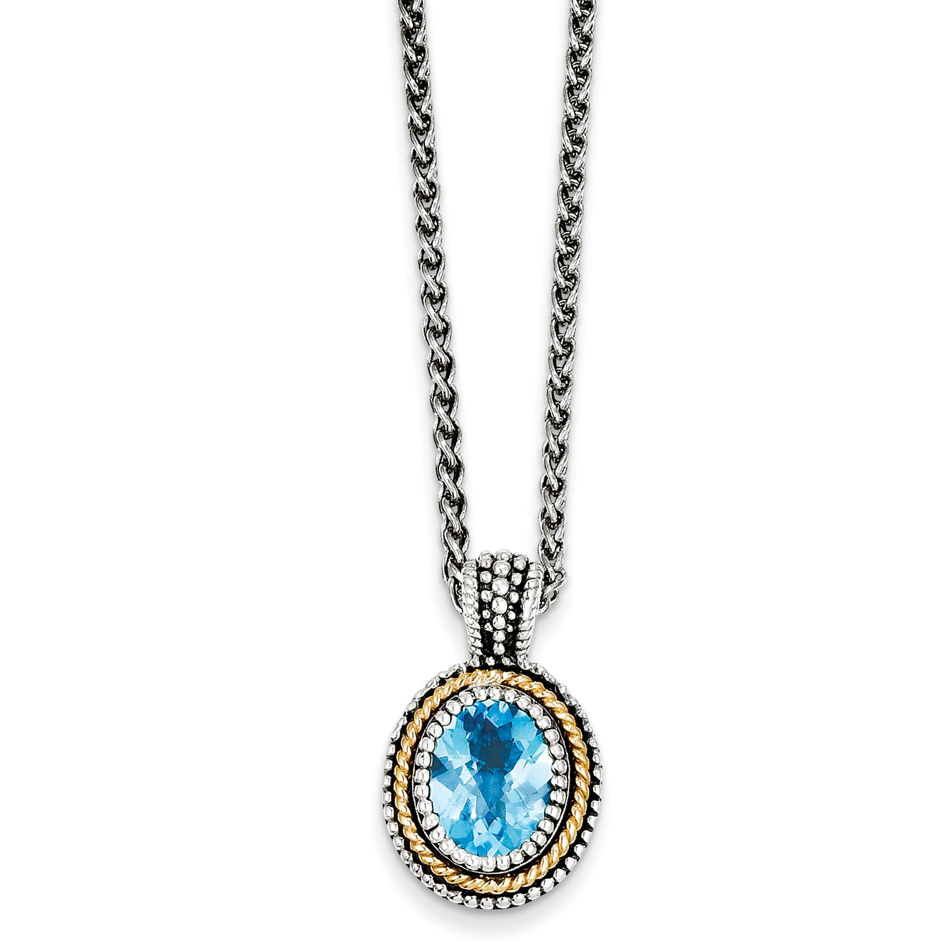 Sterling Silver w 14k Blue Topaz Necklace by Saris and Things QG