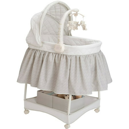 Delta Children Deluxe Gliding Bassinet, Silver Lining (Simmons Kid Bassinet)