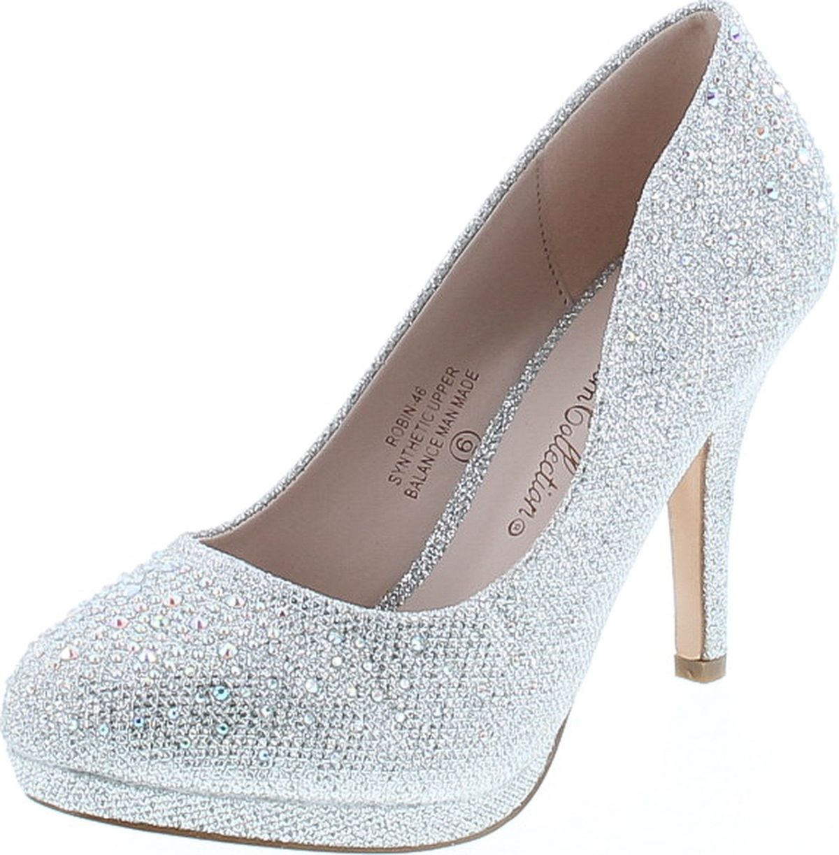 De Blossom Women/'s Spirit-1 Stunning Silver Sparkle Rhinestone Evening Heels