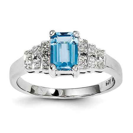 Sterling Silver 2.8ct Rhodium Plated Diamond & Light Swiss Blue Topaz Ring ()