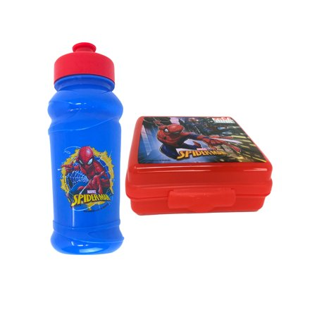 Boys Spider-Man Pull Top Water Bottle & Reusable Sandwich Container 2Pc Set - Small Reusable Water Bottles
