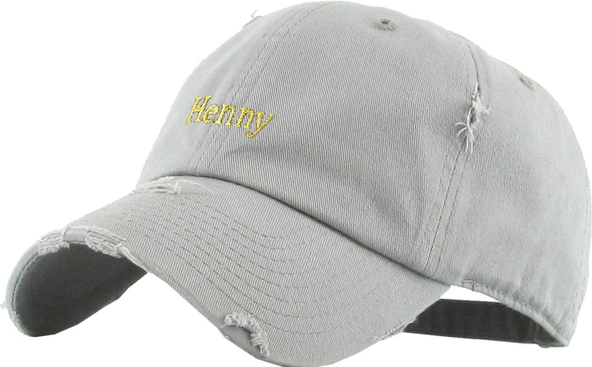 ecd99ad10d4a7 Henny Light Denim Vintage Distressed Dad Hat Adjustable Baseball Cap -  Walmart.com