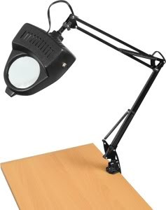 Clamp On Table Swing Arm Lighted Magnifier Magnifying Hobby Desk Work Lamp Light by