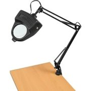 Clamp On Table Swing Arm Lighted Magnifier Magnifying Hobby Desk Work Lamp Light