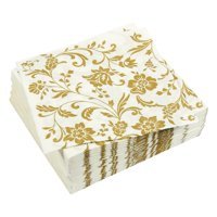 100-Pack Gold Dinner Decorative Paper Napkins, 2-Ply Vintage Floral Disposable Luncheon Napkins for Anniversary, Wedding, Birthday Party Supplies, 6.5 inches Folded