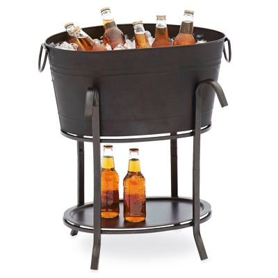 Sunjoy Group Intl Pte L-BT153PST Party Beverage Tub, Black Steel](Plastic Beverage Tubs)
