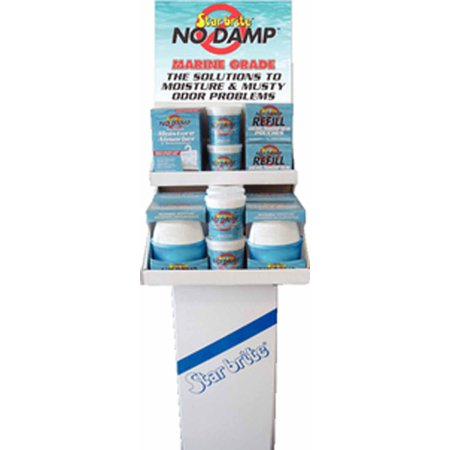 Star Brite 85499  85499; No Damp Display Star Brite 85499 No Damp DisplayNo Damp Moisture Control Display Contains:12 #85412 No Damp Dehumidifier Buckets 4 #85448 No Damp Dehumidifier Refills 4 #85460 No Damp Ultra Dome Dehumidifiers 6 #85470 No Damp Hanging Moisture Absorber & Dehumidifiers Attributes: Description = Display