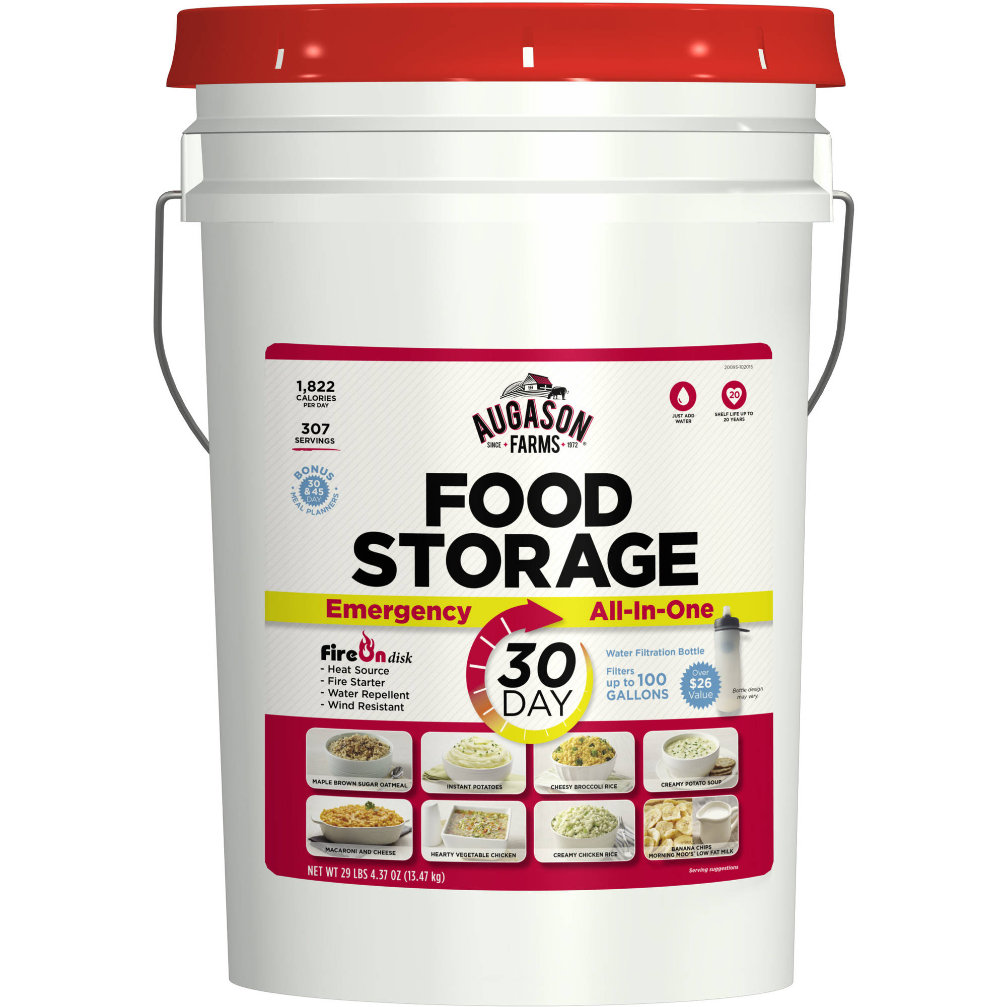 Augason Farms Emergency 30-Day All-In-One Food Storage Pail, 29.27 lbs