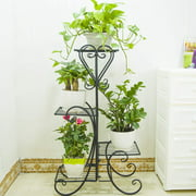 Artisasset 4-Layer Square Stripe Panel Metal Plant Stand Flower Pot Rack Holder