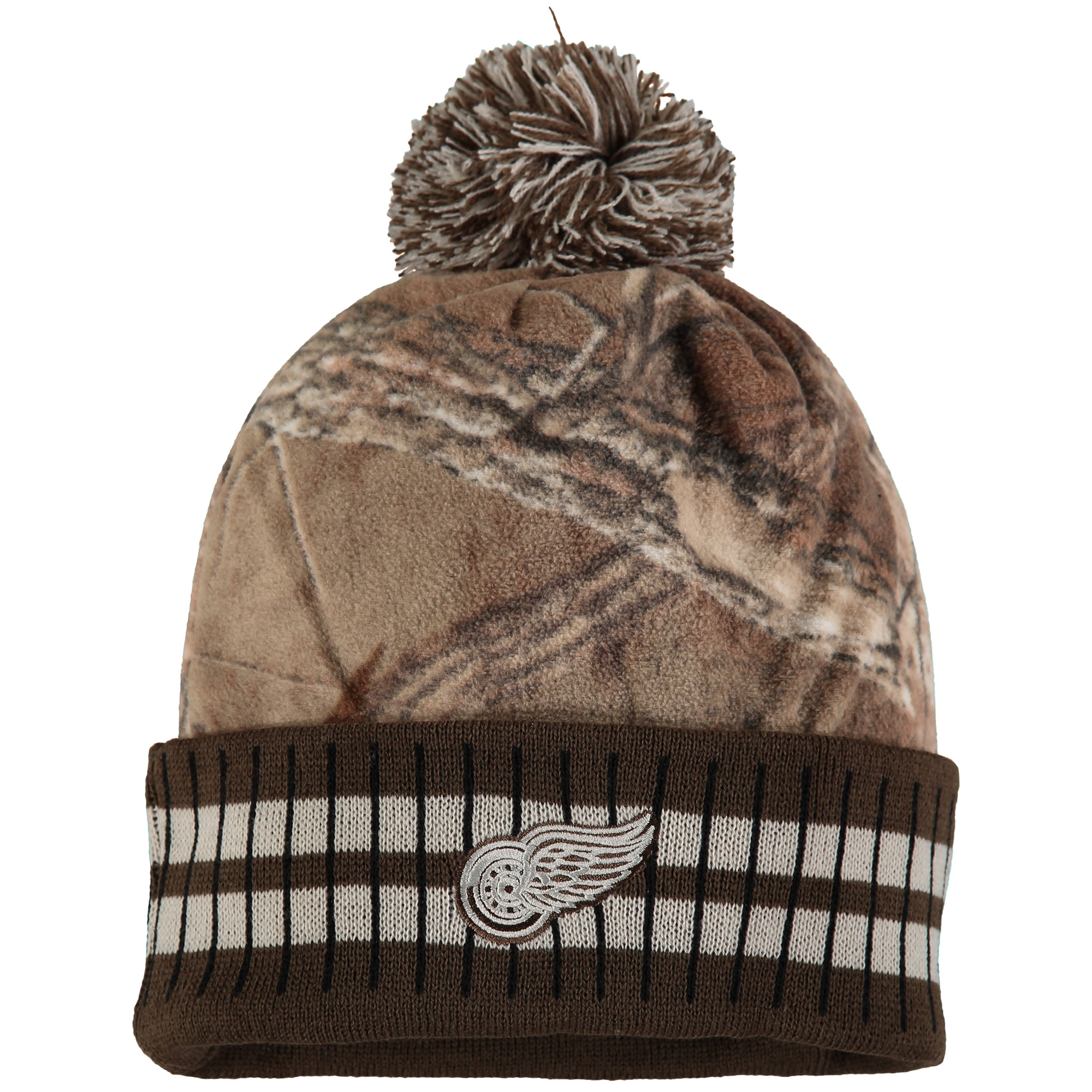 Detroit Red Wings Old Time Hockey Realtree Xtra Cuffed Knit Hat With Pom - Camo/Brown - OSFA