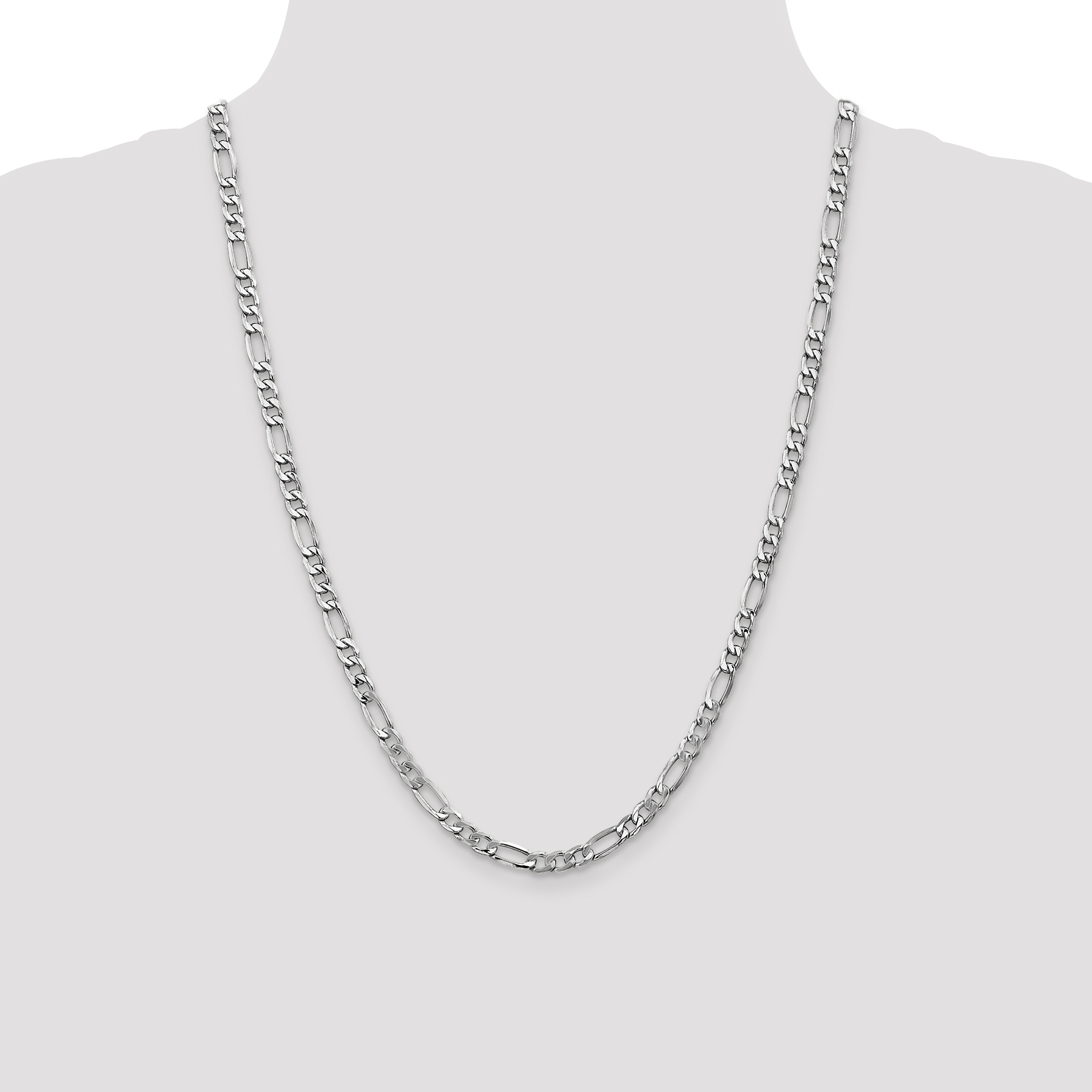 14k White Gold 5.75mm Link Figaro Chain Necklace 24 Inch Pendant Charm Fine Jewelry Gifts For Women For Her - image 1 of 5