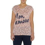 Women's Short Sleeve Striped Anchor Print T-Shirt