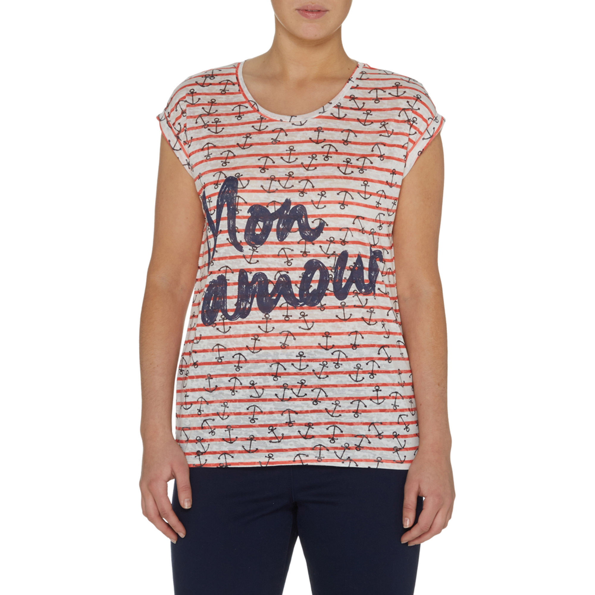 Women's Short Sleeve Striped Anchor Print T-Shirt