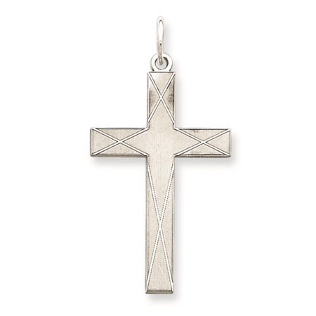 925 Sterling Silver Engravable Laser Etched Solid Etched Cross Charm Pendant