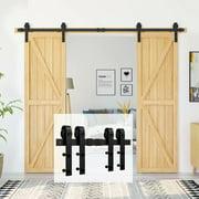 Homlux 8ft Antique Sliding Barn Door Hardware Kit Double Door - Simple and Easy to Install (J Shape Hangers)