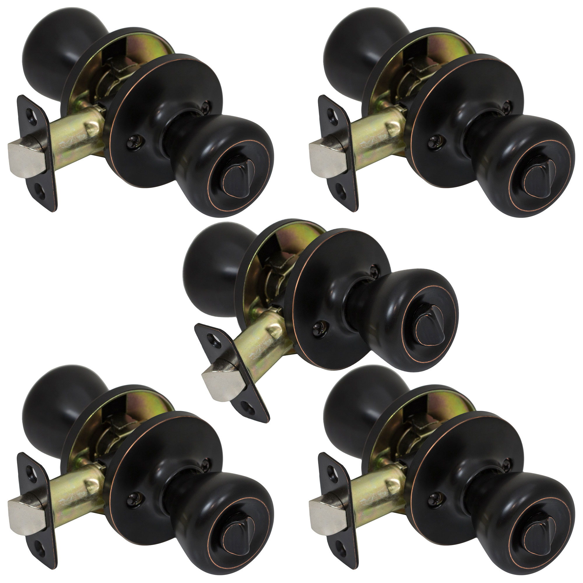 5 Pack of Pro-Grade Classic Privacy Bed Bathroom Door Knobs Handles, Oil Rubbed Bronze