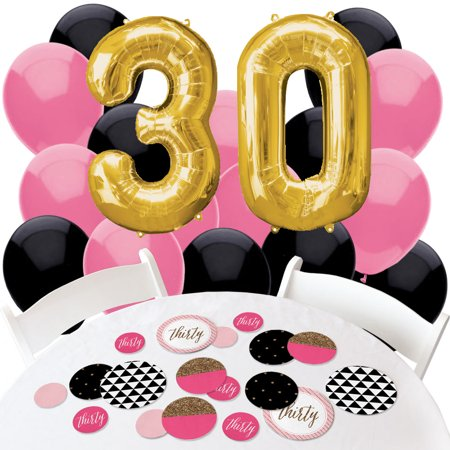 Chic 30th Birthday - Confetti and Balloon Birthday Pary Decorations - Combo - 30th Birthday Baloons