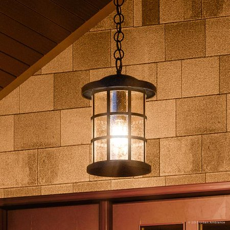Natural Wrought Iron Screen - Urban Ambiance Luxury Craftsman Outdoor Pendant Light, Medium Size: 15.5
