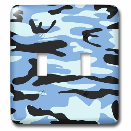 3dRose Light blue camo print - army uniform camouflage pattern - macho boys military soldier blend texture - Double Toggle Switch (lsp_157598_2)