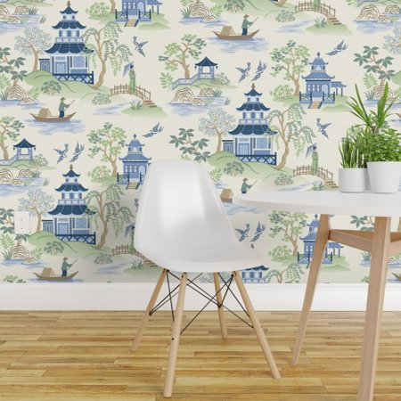 Removable Water Activated Wallpaper Chinoiserie Pagoda Blue Green Ecru