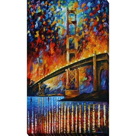 International Bridge (Picture Perfect International ''Golden Gate Bridge'' by Leonid Afremov Painting Print on Wrapped Canvas)