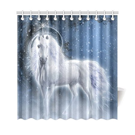 BSDHOME Fantasy Starry Night Shower Curtain, White Unicorn Polyester Fabric Shower Curtain Bathroom Sets 66x72 Inches - image 1 de 3
