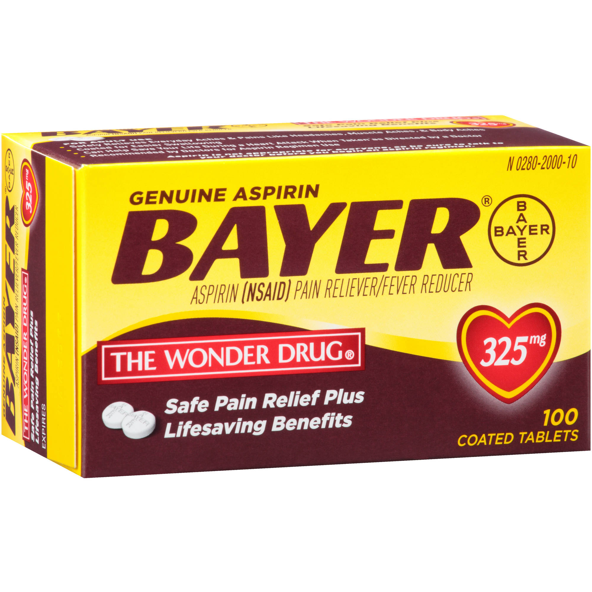Genuine Bayer Aspirin Coated Tablets, 325mg, 100 count