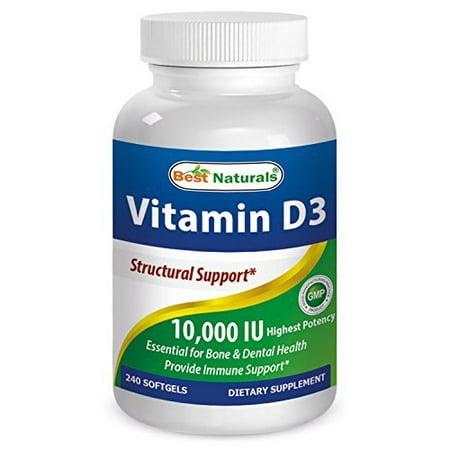 Vitamin D3 10000 IU 240 Softgels by Best Naturals - GMO-free, Preservative-free, USP Grade Natural Vitamin