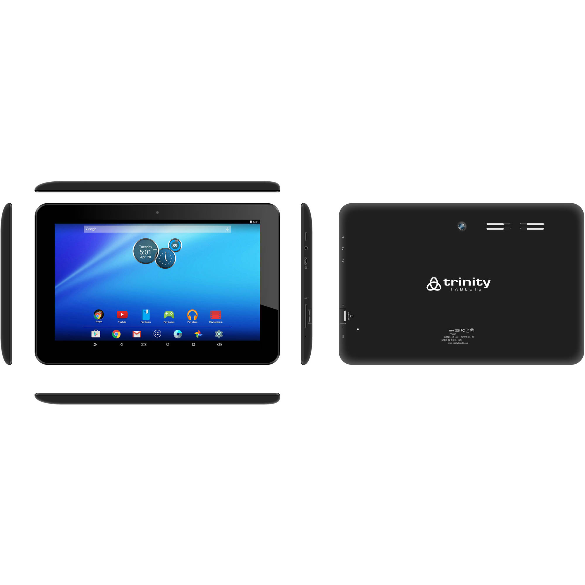 "Trinity Tablets T101 with WiFi 10.1"" Touchscreen Tablet PC Featuring Android 5.0 (Lollipop) Operating"