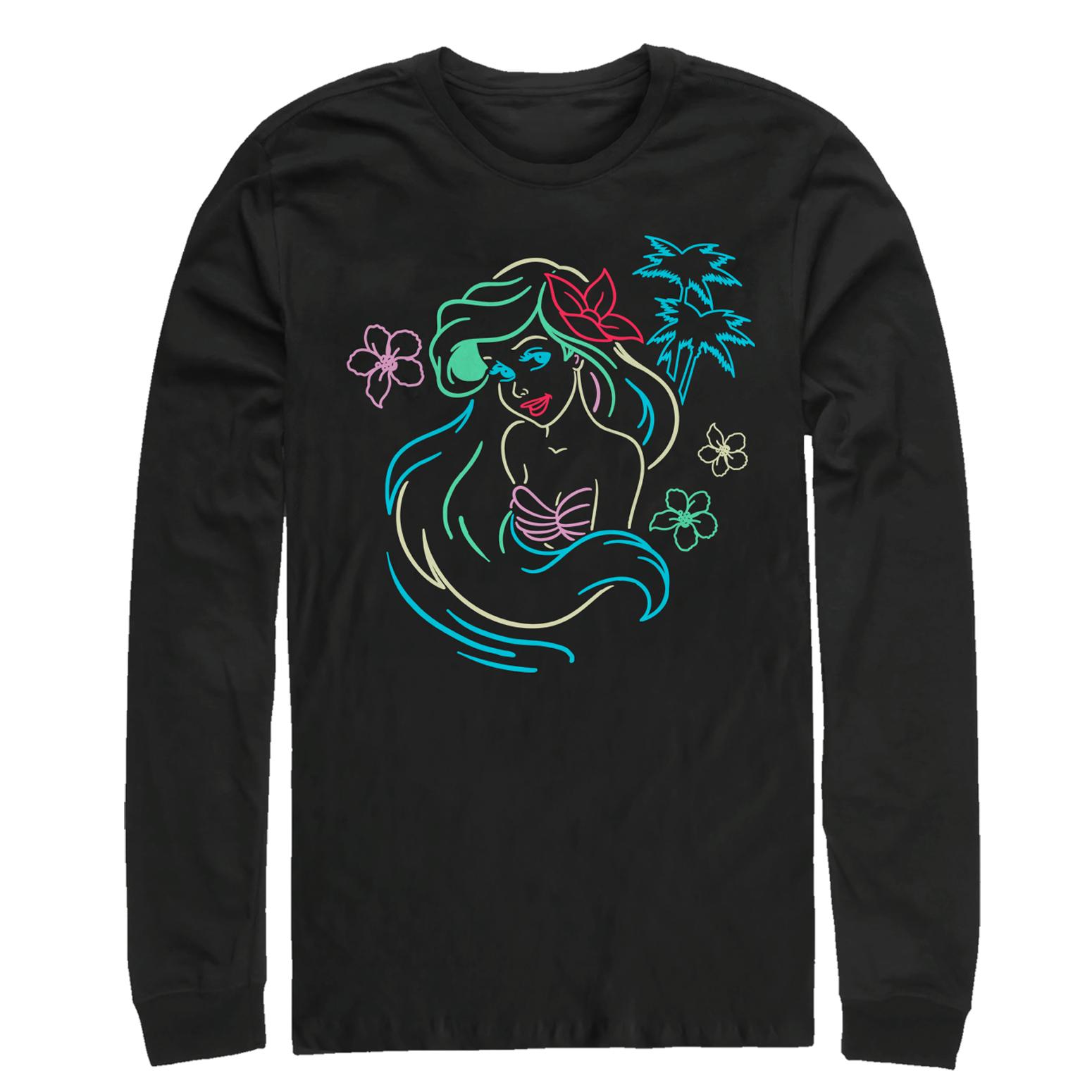 The Little Mermaid Men's Ariel Neon Light Print Long Sleeve T-Shirt