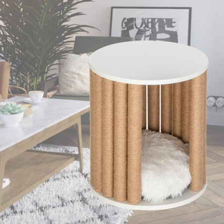 "HOBBYZOO 16"" Pet Cat Climbing Frame Furniture Grab Column Side Coffee Table Cat Litter Bench Bedside Table"